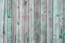 Wooden Fence Background, Old Green Paint.