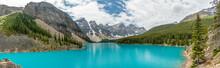 Moraine Lake Pano In Canada As Beautiful Lake
