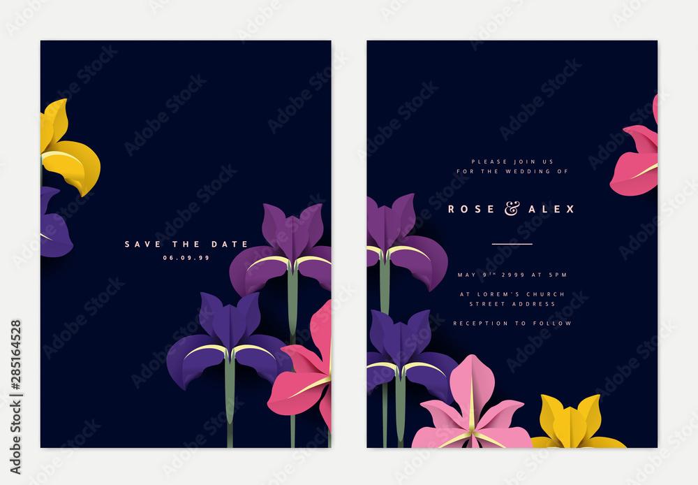 Fototapeta Botanical wedding invitation card template design, colorful iris flowers paper art on dark blue