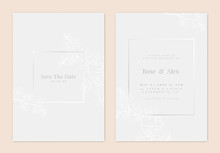 Minimalist Botanical Wedding Invitation Card Template Design, White Bower Vine Line Art Ink Drawing On Light Grey