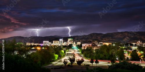 Lightning over Boise Idaho at night  #285164768