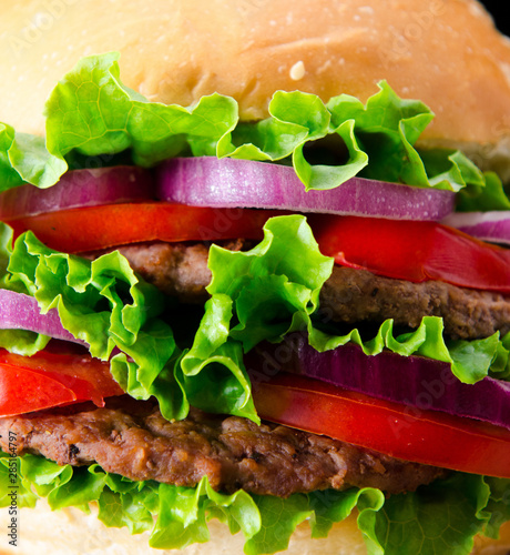 Burger served in bun in nutrition fast food concept
