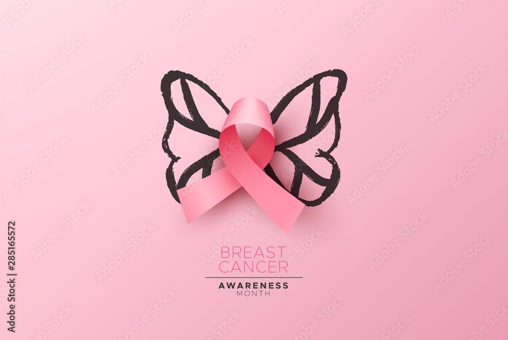 Fototapeta Breast Cancer awareness card pink ribbon butterfly