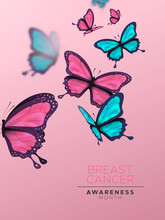 Breast Cancer Awareness Month Card Pink Butterfly