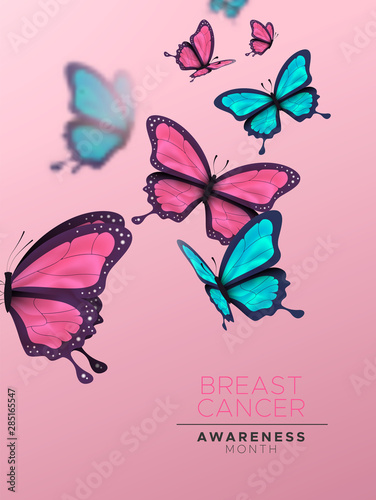 Fotografie, Obraz  Breast Cancer awareness month card pink butterfly