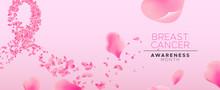Breast Cancer Awareness Pink Flower Petal Ribbon