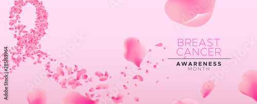 Fotografía Breast cancer awareness pink flower petal ribbon