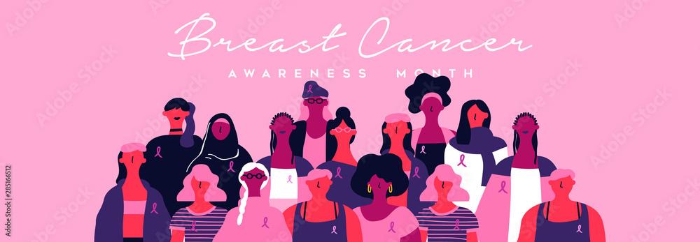 Fototapeta Breast cancer month banner of diverse pink women
