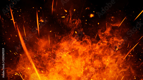 Photo Realistic isolated fire effect for decoration and covering on black background