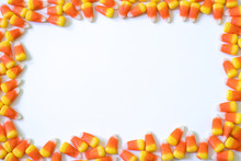 Candy Corn Border Pattern On A White Background