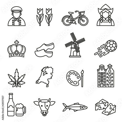 netherlands symbols and dutch culture icons set on white background Fototapete
