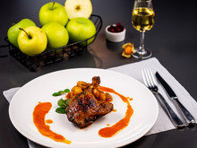Confit Duck With Apple Sauce. ...