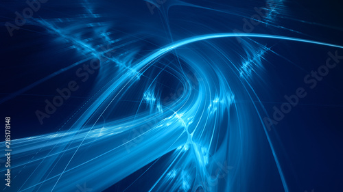 Fotobehang Fractal waves Abstract blue background element on black. Fractal graphics 3d Illustration. Three-dimensional composition of glowing lines and motion blur traces. Movement and innovation concept.