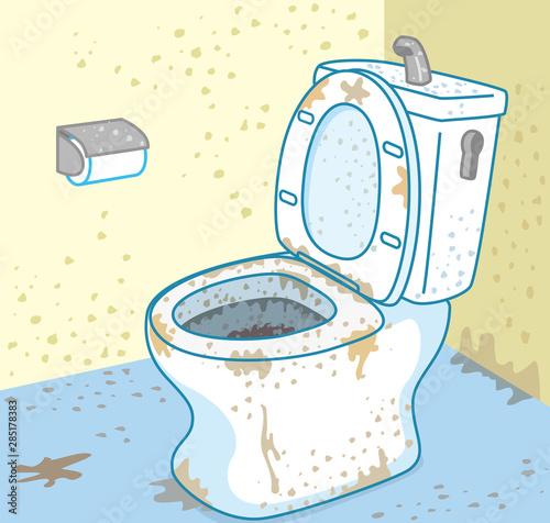 Fotografie, Obraz  汚れたトイレ