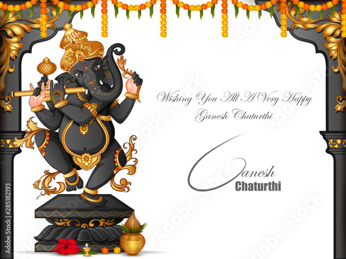vector illustration of Lord Ganapati for Happy Ganesh Chaturthi festival religio Wallpaper Mural