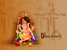 Vector Illustration Of Lord Ganapati For Happy Ganesh Chaturthi Festival Religious Banner Background