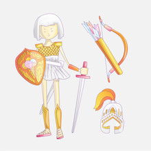 Cute Cartoon Vector Illustration Of Girl Warrior. Cute Teen Little Girl In Armor, With Bow, Helm And Sword And War Elements Around. Brave Independent Girl, Ready For A Fight. Cartoon Strong Girl