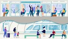 Passengers Going On Subway Train Flat Vector