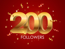 200 Followers Background Template Vector Illustration