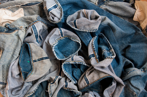 Photographie  Old jeans vintage levis Big E blue abstract background