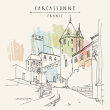 Carcassonne Castle, France, Europe. Hand Drawing In Retro Style. Travel Sketch. Vintage Touristic Postcard, Poster Or Book Illustration In Vector