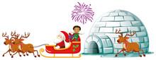 Santa On Sleigh With Reindeers