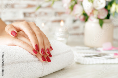 Printed kitchen splashbacks Manicure Woman with beautiful manicure in salon