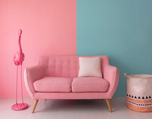 The Pink Sofa Which Has A Whit...