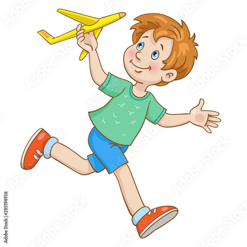Tuinposter Vlinders The boy runs with a toy plane in his hand. In cartoon style. Isolated on white background.