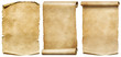 canvas print picture - Vintage scrolls or parchment manuscripts set isolated on white