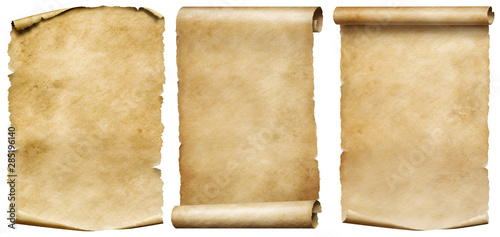 Fotografija Vintage scrolls or parchment manuscripts set isolated on white