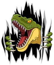 Cartoon T-rex Mascot Ripping Illustration Vector