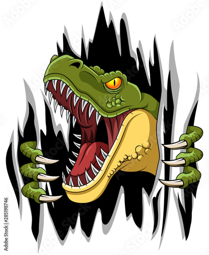 Cartoon t-rex mascot ripping illustration vector #285198746
