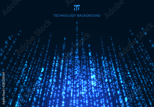 Fototapety, obrazy: Abstract technology blue magic sparkling glitter particles lines perspective on dark background.