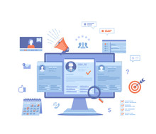 Recruitment Platform, Agency, Hr. Human Resources, Employment, Selection Of The Best Candidate. Resume, Megaphone, Computer, Calendar, Video Connection, Interview. Vector Illustration On White
