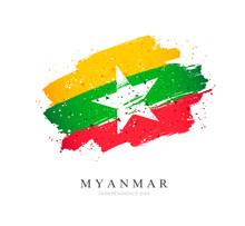 Myanmar Flag. Vector Illustration On A White Background.