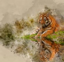 Digital Watercolor Painting Of...