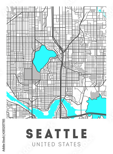 City map Seattle, travel poster design. Washington Wallpaper Mural