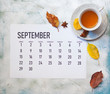 canvas print picture - Monthly September 2019 calendar