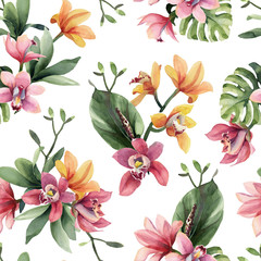 Fototapeta Egzotyczne Seamless pattern of yellow, rose orchid flowers and tropical leaves on white background.