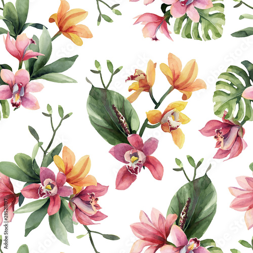 Seamless pattern of yellow, rose orchid flowers and tropical leaves on white background. Wall mural