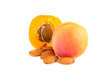 Apricot In Close Up. Apricots With Fruit Kernels Isolated On White Background.