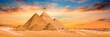 canvas print picture - Panorama der großen Pyramiden von Gizeh bei Sonnenuntergang