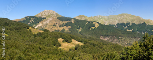 Apennine Mountains panorama showing peaks: Alpe di Succiso, Monte Alto and Monte Casarola Canvas Print