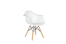 Modern White Plastic Chair Wit...