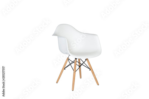 Fotografia Modern white plastic chair with wooden legs isolated on a white background