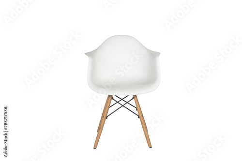 Fototapeta Modern white plastic chair with wooden legs isolated on a white background