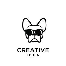 French Bulldog Wear Sunglasses Logo Icon Design Vector Illustration