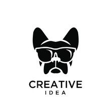 French Bulldog Wear Sunglasses Logo Icon Design Vector Illustration