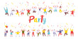 Birthday party, celebration, event horizontal banners. Young People dancing and have fun. Friendship. Student party. Male and female flat characters isolated  on white background.